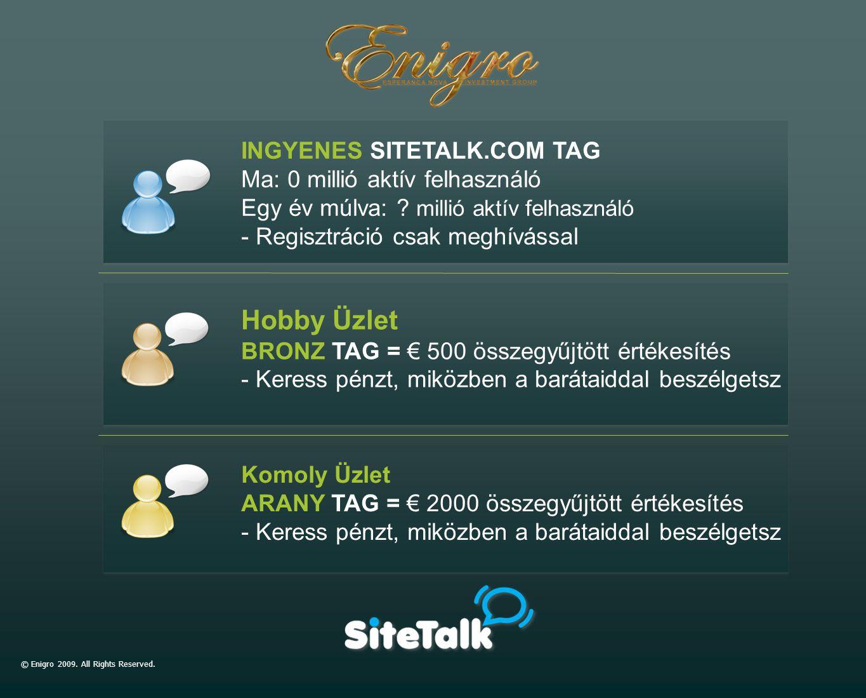 INGYENES SITETALK.COM TAG Ma: 0 millió aktív felhasználó Egy év múlva: ? millió aktív felhasználó - Regisztráció csak meghívással Hobby Üzlet BRONZ TA
