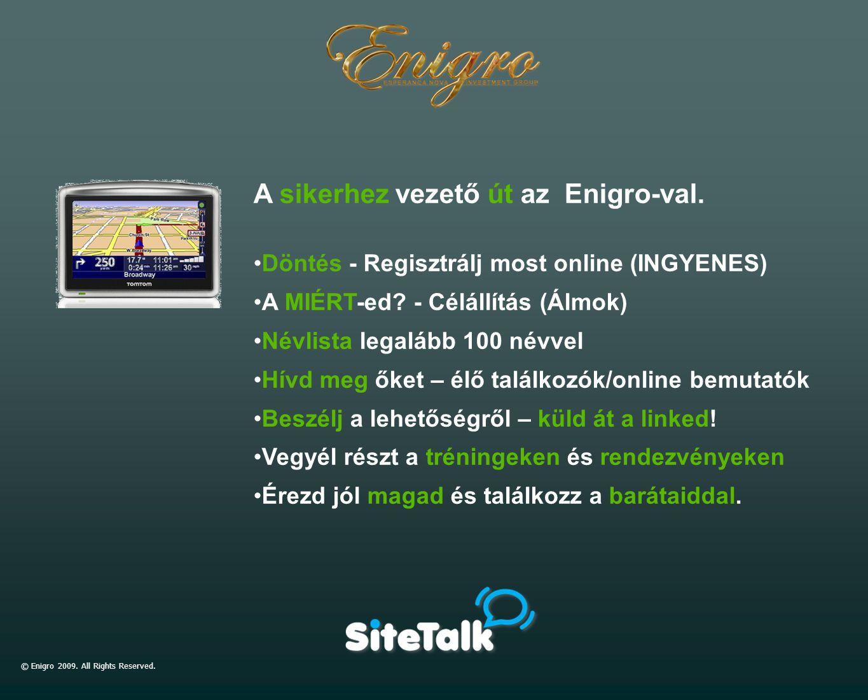 © Enigro 2009. All Rights Reserved. A sikerhez vezető út az Enigro-val. Döntés - Regisztrálj most online (INGYENES) A MIÉRT-ed? - Célállítás (Álmok) N