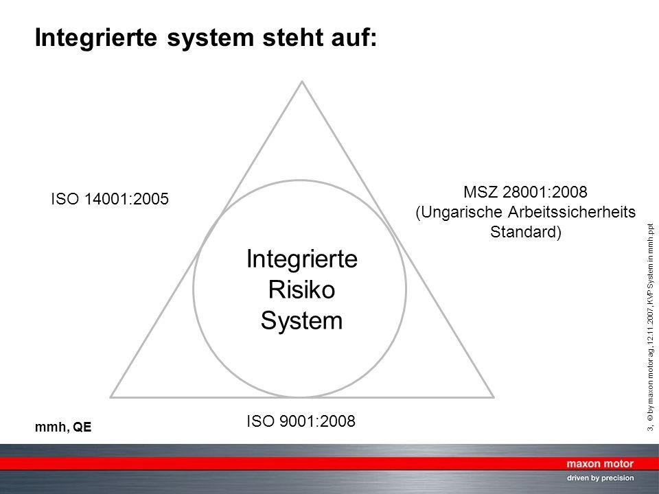 4, © by maxon motor ag, 12.11.2007, KVP System in mmh.ppt mmh, QE Kockázat azonosítás Azonosított kockázatok elemzése Kockázatok értékelése Kockázatok kezelése Monitorozás és felülvizsgálat A kockázati környezet meghatározása Kommunikáció és konzultáció ISO 31000 kockázatkezelési folyamat