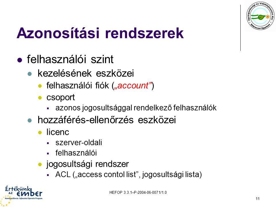 """HEFOP 3.3.1–P-2004-06-0071/1.0 11 Azonosítási rendszerek felhasználói szint kezelésének eszközei felhasználói fiók (""""account ) csoport  azonos jogosultsággal rendelkező felhasználók hozzáférés-ellenőrzés eszközei licenc  szerver-oldali  felhasználói jogosultsági rendszer  ACL (""""access contol list , jogosultsági lista)"""