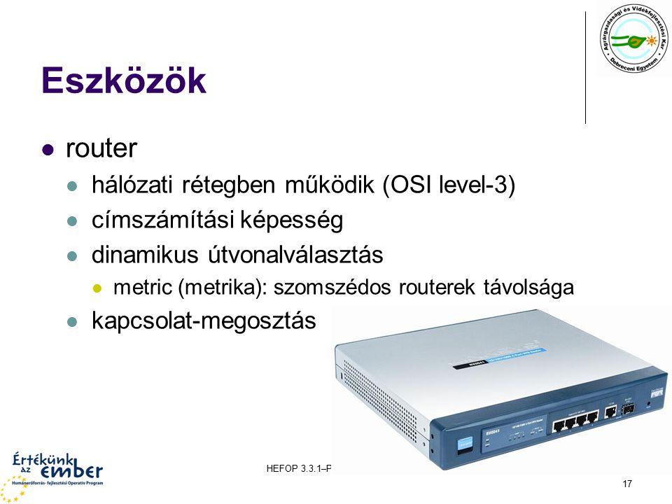 HEFOP 3.3.1–P-2004-06-0071/1.0 17 Eszközök router hálózati rétegben működik (OSI level-3) címszámítási képesség dinamikus útvonalválasztás metric (metrika): szomszédos routerek távolsága kapcsolat-megosztás