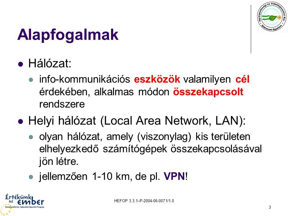 HEFOP 3.3.1–P-2004-06-0071/1.0 3 Alapfogalmak Hálózat: info-kommunikációs eszközök valamilyen cél érdekében, alkalmas módon összekapcsolt rendszere Helyi hálózat (Local Area Network, LAN): olyan hálózat, amely (viszonylag) kis területen elhelyezkedő számítógépek összekapcsolásával jön létre.
