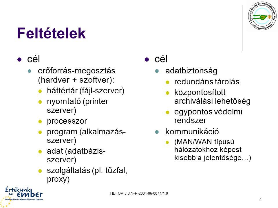 HEFOP 3.3.1–P-2004-06-0071/1.0 5 Feltételek cél erőforrás-megosztás (hardver + szoftver): háttértár (fájl-szerver) nyomtató (printer szerver) processzor program (alkalmazás- szerver) adat (adatbázis- szerver) szolgáltatás (pl.