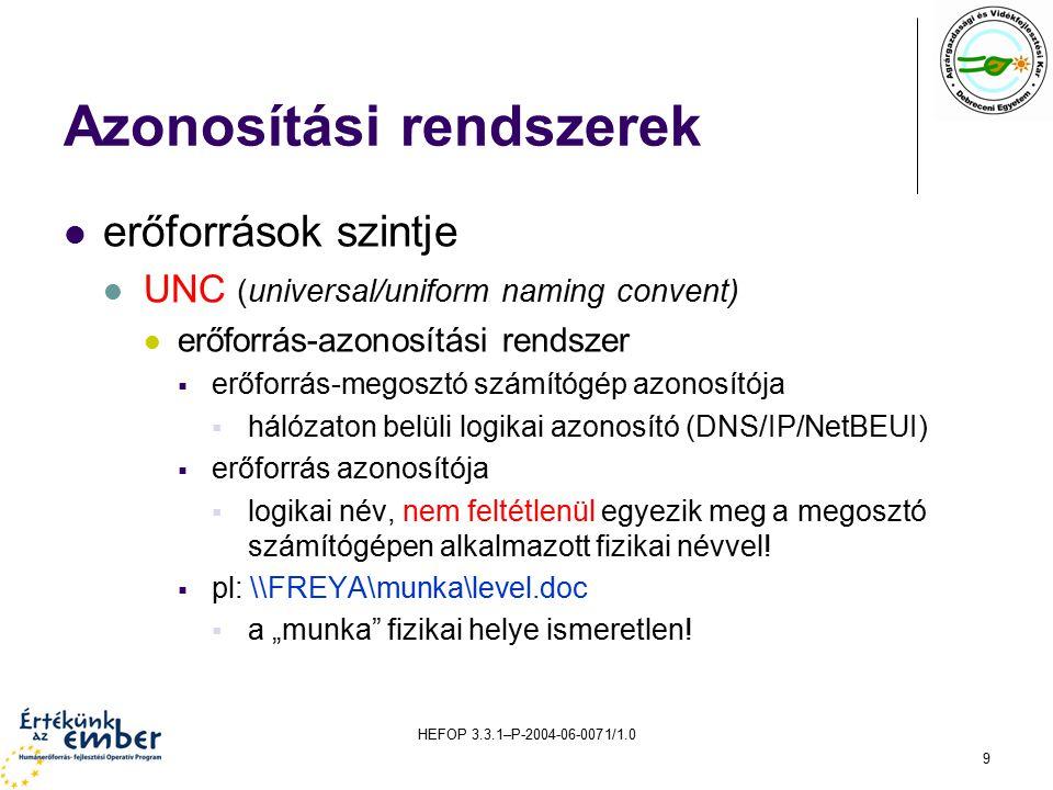 HEFOP 3.3.1–P-2004-06-0071/1.0 9 Azonosítási rendszerek erőforrások szintje UNC (universal/uniform naming convent) erőforrás-azonosítási rendszer  erőforrás-megosztó számítógép azonosítója  hálózaton belüli logikai azonosító (DNS/IP/NetBEUI)  erőforrás azonosítója  logikai név, nem feltétlenül egyezik meg a megosztó számítógépen alkalmazott fizikai névvel.