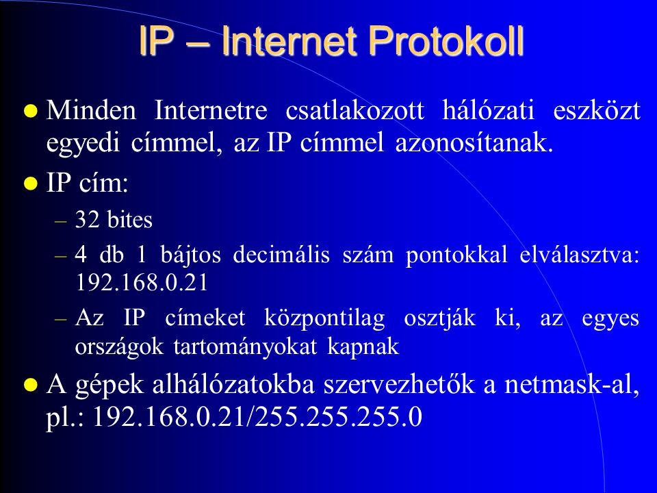 IP – Internet Protokoll Minden Internetre csatlakozott hálózati eszközt egyedi címmel, az IP címmel azonosítanak.
