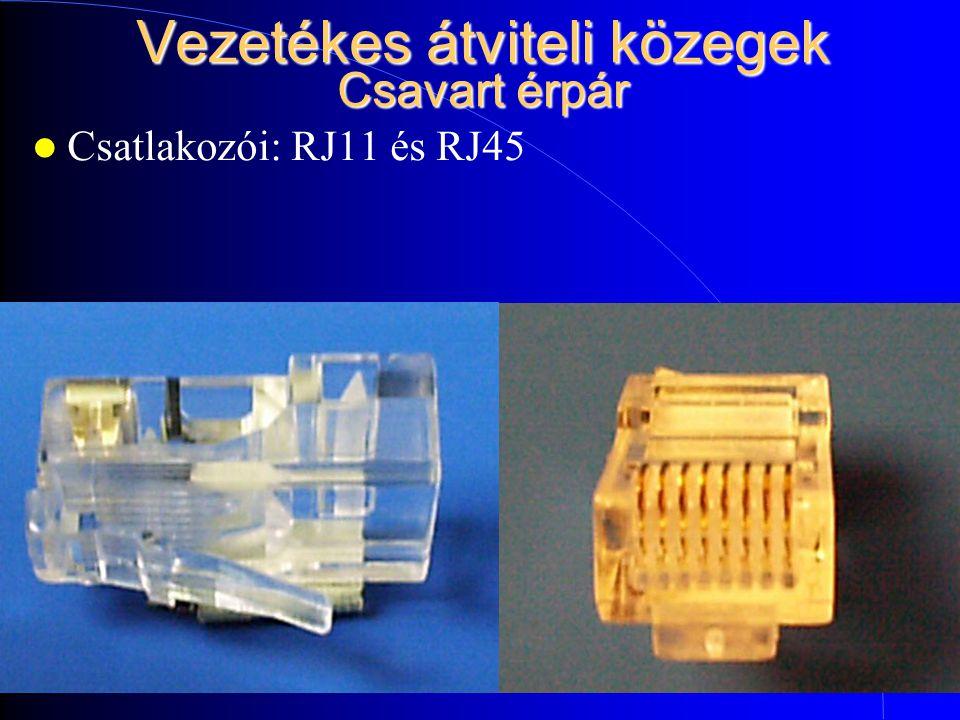 Vezetékes átviteli közegek Csavart érpár Csatlakozói: RJ11 és RJ45