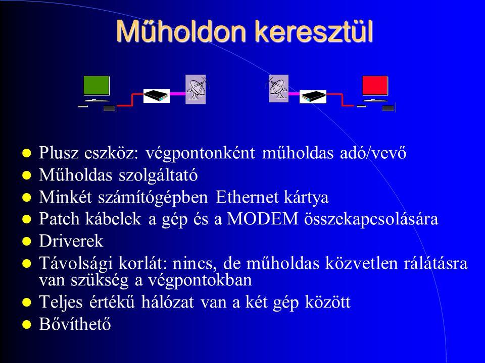 Műholdon keresztül Plusz eszköz: végpontonként műholdas adó/vevő Műholdas szolgáltató Minkét számítógépben Ethernet kártya Patch kábelek a gép és a MODEM összekapcsolására Driverek Távolsági korlát: nincs, de műholdas közvetlen rálátásra van szükség a végpontokban Teljes értékű hálózat van a két gép között Bővíthető