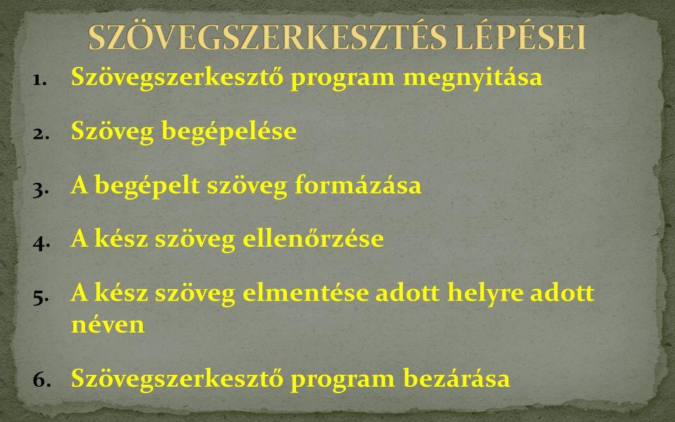 1.Szövegszerkesztő program megnyitása 2. Szöveg begépelése 3.