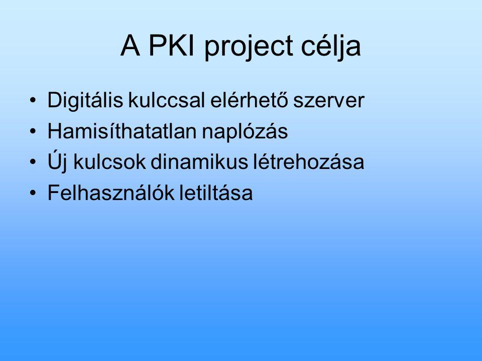 A PKI project célja Digitális kulccsal elérhető szerver Hamisíthatatlan naplózás Új kulcsok dinamikus létrehozása Felhasználók letiltása