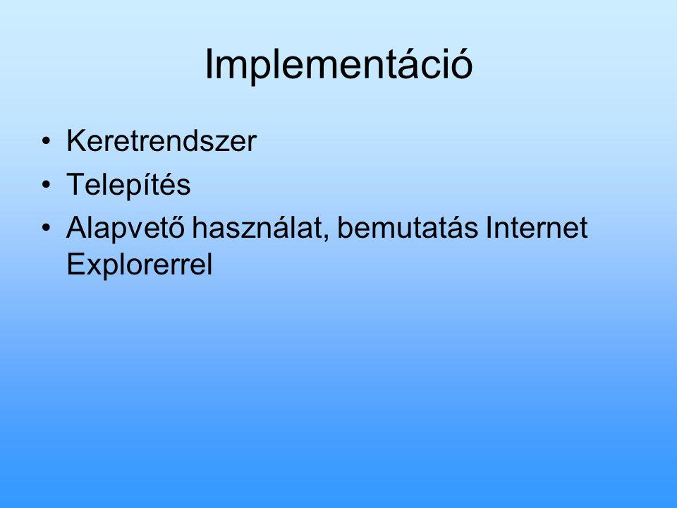 Implementáció Keretrendszer Telepítés Alapvető használat, bemutatás Internet Explorerrel