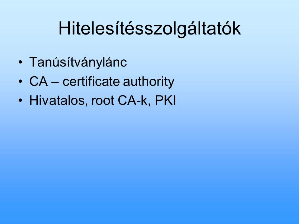 Hitelesítésszolgáltatók Tanúsítványlánc CA – certificate authority Hivatalos, root CA-k, PKI