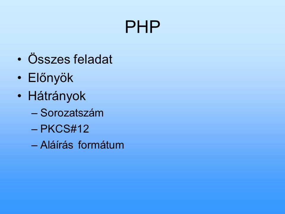 PHP Összes feladat Előnyök Hátrányok –Sorozatszám –PKCS#12 –Aláírás formátum