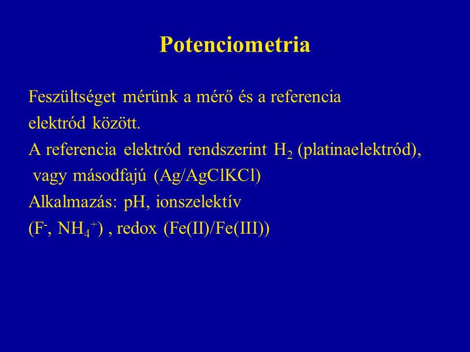 Potenciometria Feszültséget mérünk a mérő és a referencia elektród között.