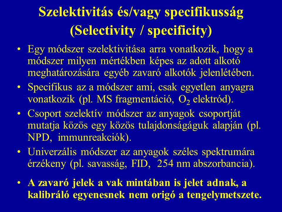 Szelektivitás és/vagy specifikusság (Selectivity / specificity) Egy módszer szelektivitása arra vonatkozik, hogy a módszer milyen mértékben képes az adott alkotó meghatározására egyéb zavaró alkotók jelenlétében.