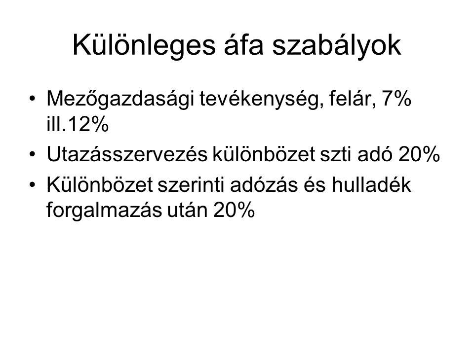 Különleges áfa szabályok Mezőgazdasági tevékenység, felár, 7% ill.12% Utazásszervezés különbözet szti adó 20% Különbözet szerinti adózás és hulladék f