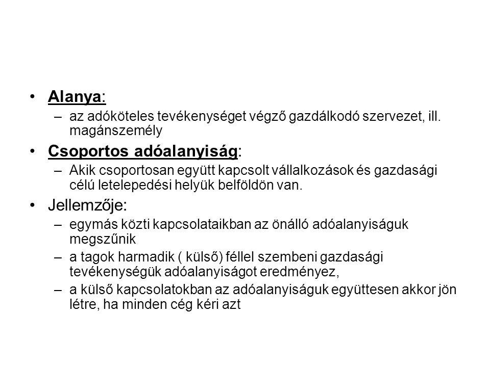 Alanya: –az adóköteles tevékenységet végző gazdálkodó szervezet, ill. magánszemély Csoportos adóalanyiság: –Akik csoportosan együtt kapcsolt vállalkoz