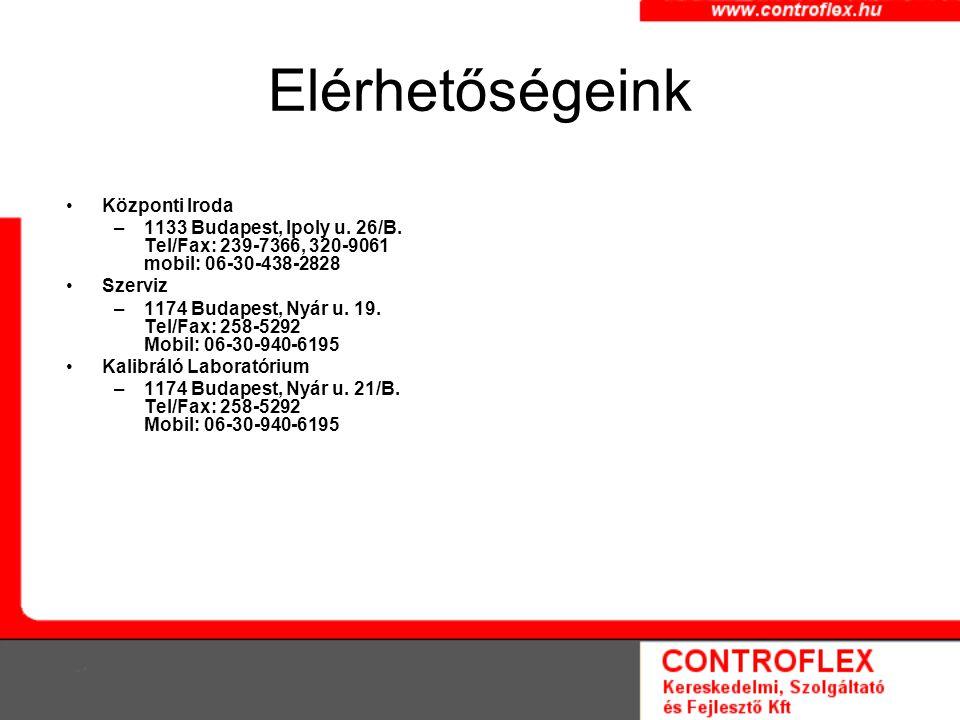 Elérhetőségeink Központi Iroda –1133 Budapest, Ipoly u. 26/B. Tel/Fax: 239-7366, 320-9061 mobil: 06-30-438-2828 Szerviz –1174 Budapest, Nyár u. 19. Te