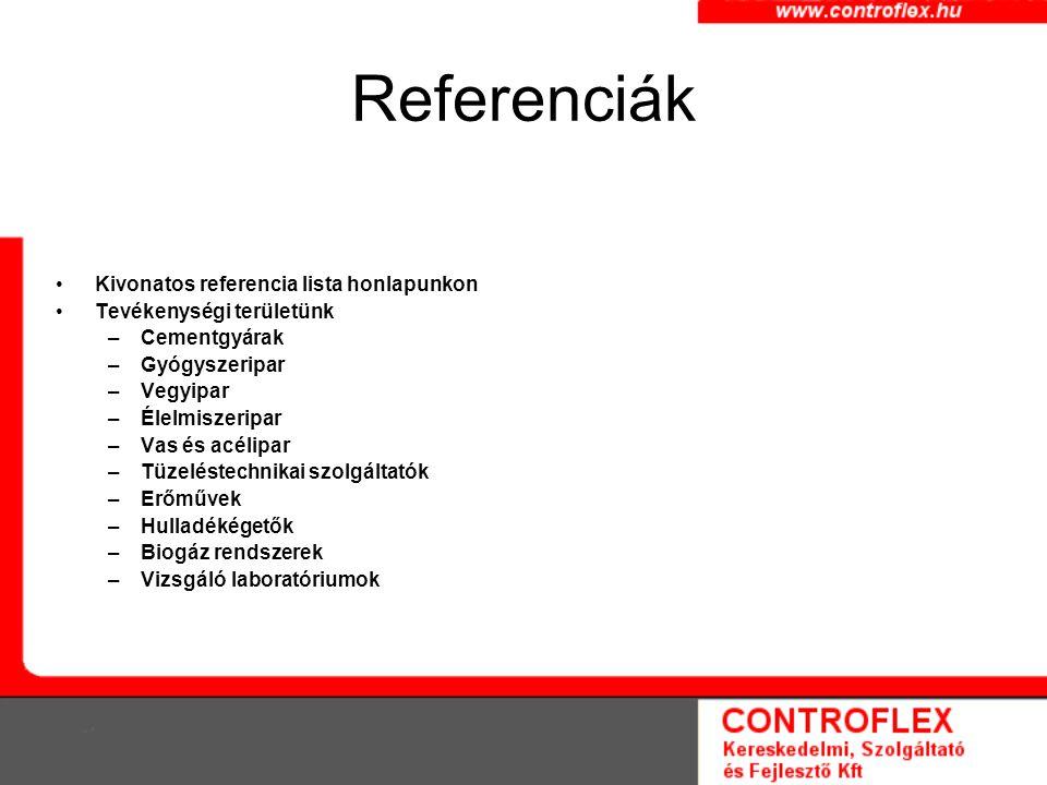 Referenciák Kivonatos referencia lista honlapunkon Tevékenységi területünk –Cementgyárak –Gyógyszeripar –Vegyipar –Élelmiszeripar –Vas és acélipar –Tüzeléstechnikai szolgáltatók –Erőművek –Hulladékégetők –Biogáz rendszerek –Vizsgáló laboratóriumok