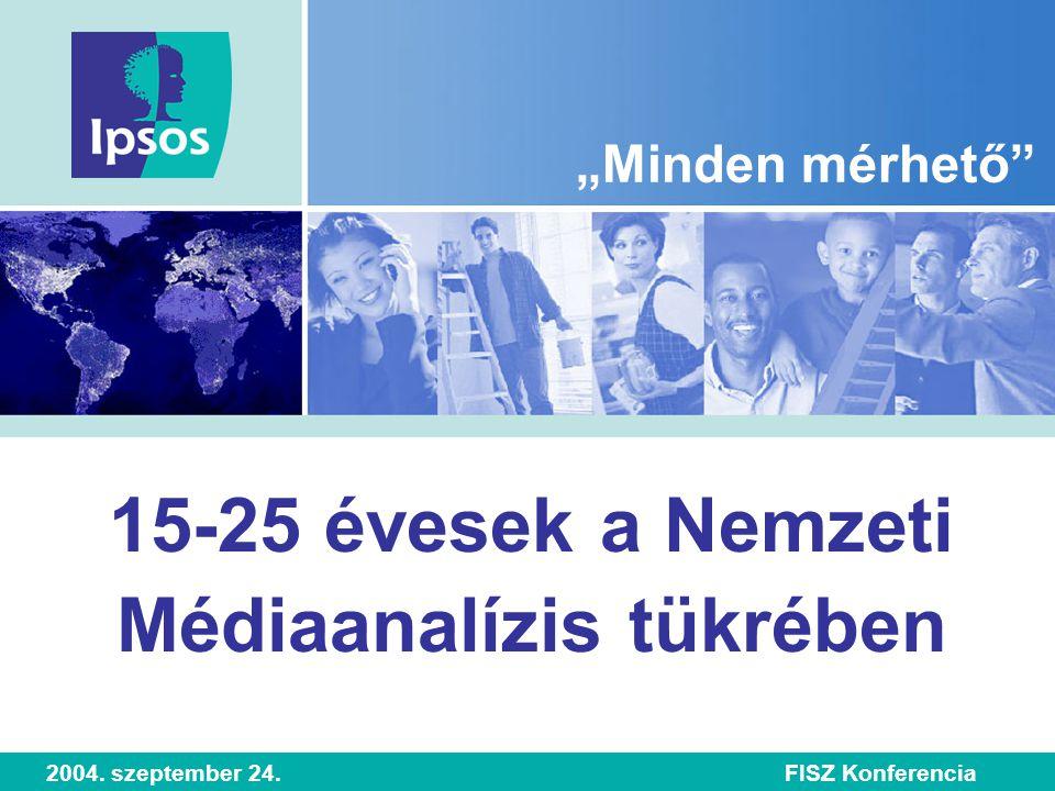 """15-25 évesek a Nemzeti Médiaanalízis tükrében """"Minden mérhető 2004. szeptember 24.FISZ Konferencia"""