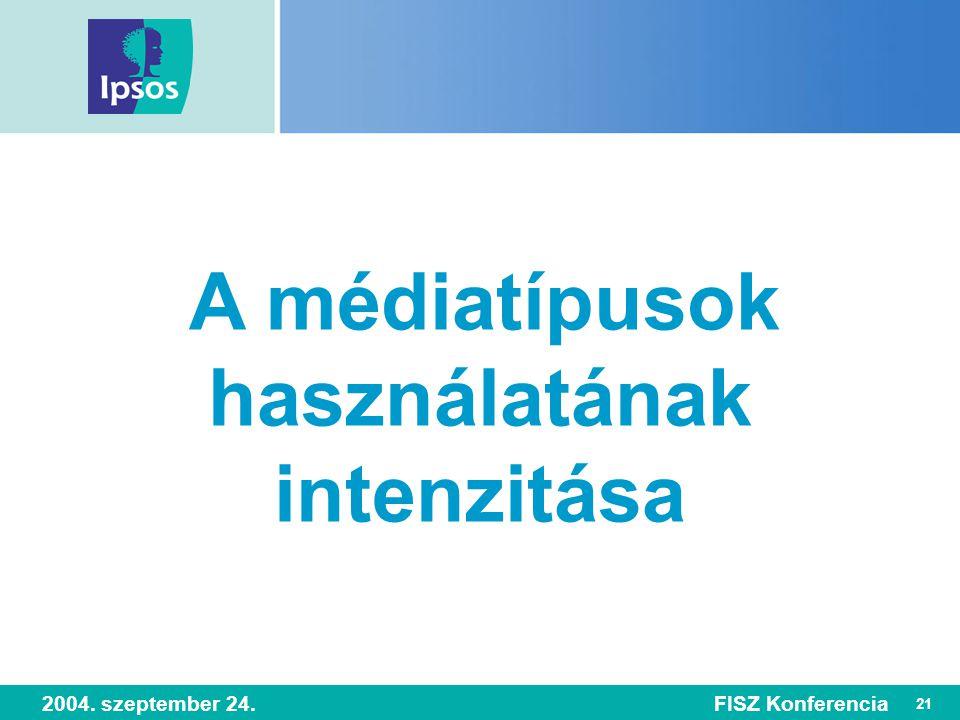 21 2004. szeptember 24.FISZ Konferencia A médiatípusok használatának intenzitása