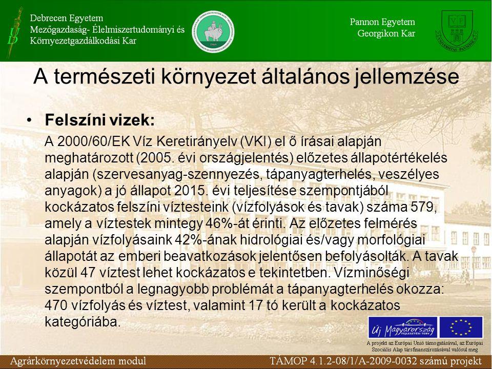 A természeti környezet általános jellemzése Felszíni vizek: A 2000/60/EK Víz Keretirányelv (VKI) el ő írásai alapján meghatározott (2005.