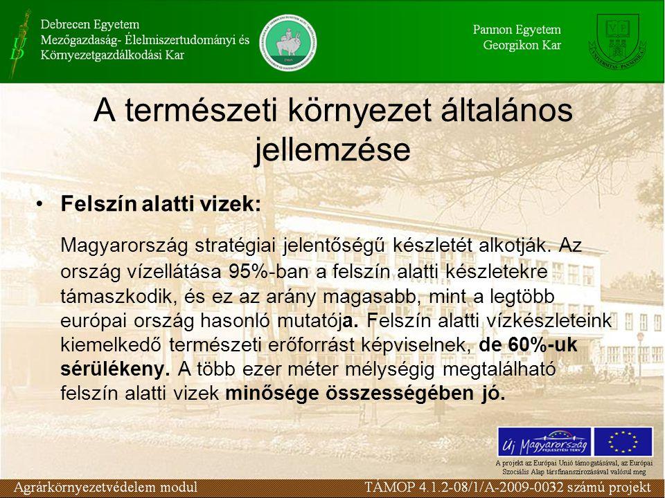 A természeti környezet általános jellemzése Felszín alatti vizek: Magyarország stratégiai jelentőségű készletét alkotják.