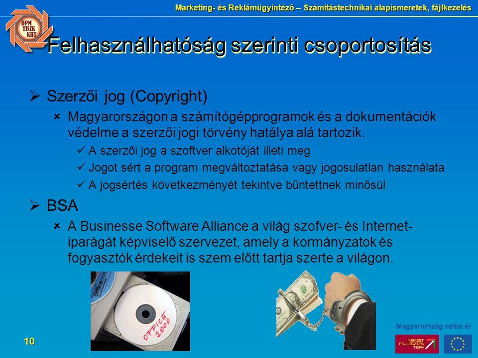 Marketing- és Reklámügyintéző – Számítástechnikai alapismeretek, fájlkezelés 10 Felhasználhatóság szerinti csoportosítás  Szerzői jog (Copyright)  Magyarországon a számítógépprogramok és a dokumentációk védelme a szerzői jogi törvény hatálya alá tartozik.