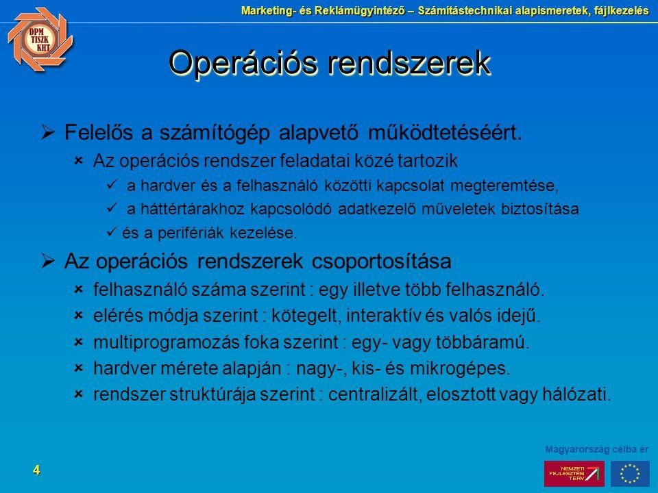 Marketing- és Reklámügyintéző – Számítástechnikai alapismeretek, fájlkezelés 4 Operációs rendszerek  Felelős a számítógép alapvető működtetéséért.
