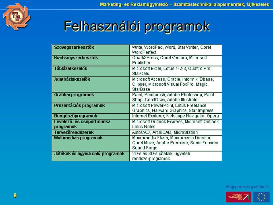 Marketing- és Reklámügyintéző – Számítástechnikai alapismeretek, fájlkezelés 8 Felhasználói programok