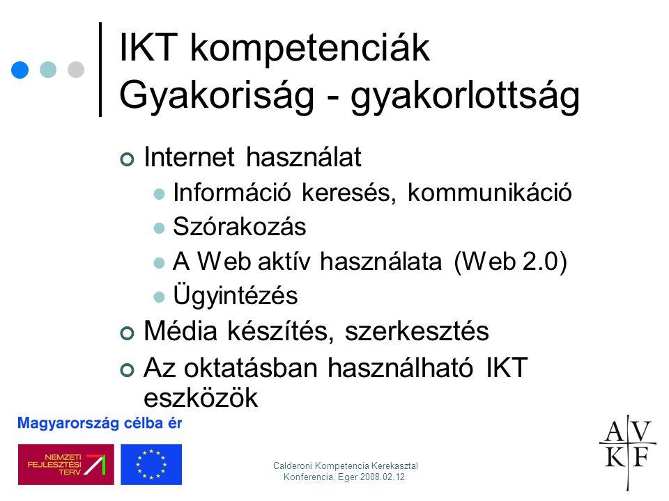 Calderoni Kompetencia Kerekasztal Konferencia, Eger 2008.02.12. IKT kompetenciák Gyakoriság - gyakorlottság Internet használat Információ keresés, kom