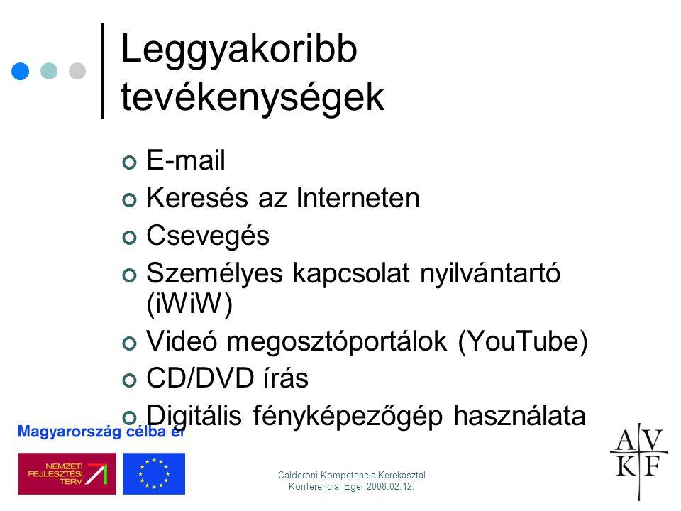 Calderoni Kompetencia Kerekasztal Konferencia, Eger 2008.02.12. Leggyakoribb tevékenységek E-mail Keresés az Interneten Csevegés Személyes kapcsolat n