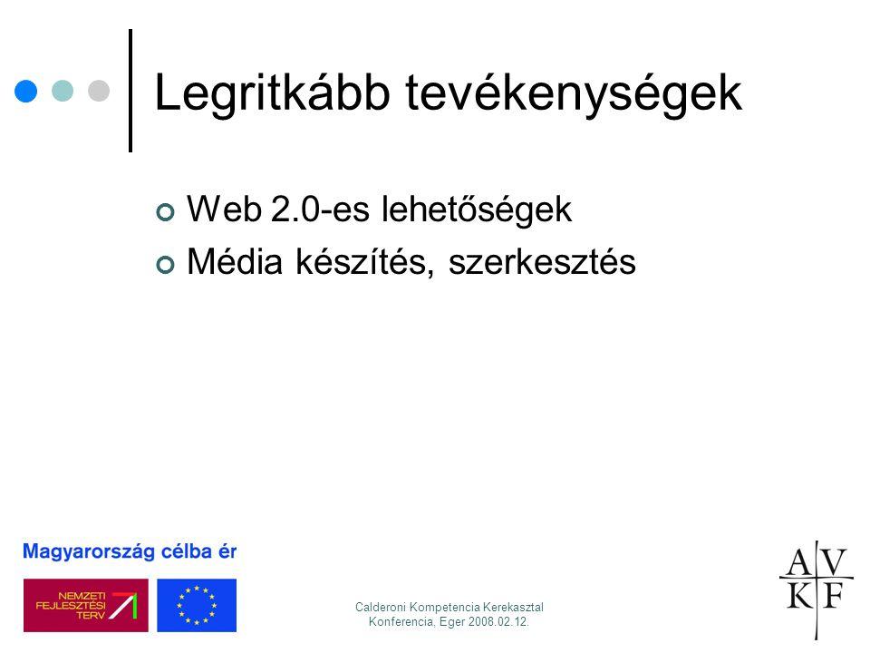 Calderoni Kompetencia Kerekasztal Konferencia, Eger 2008.02.12. Legritkább tevékenységek Web 2.0-es lehetőségek Média készítés, szerkesztés