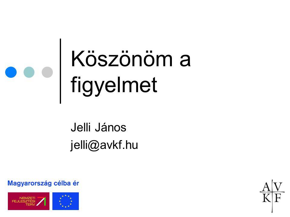 Köszönöm a figyelmet Jelli János jelli@avkf.hu