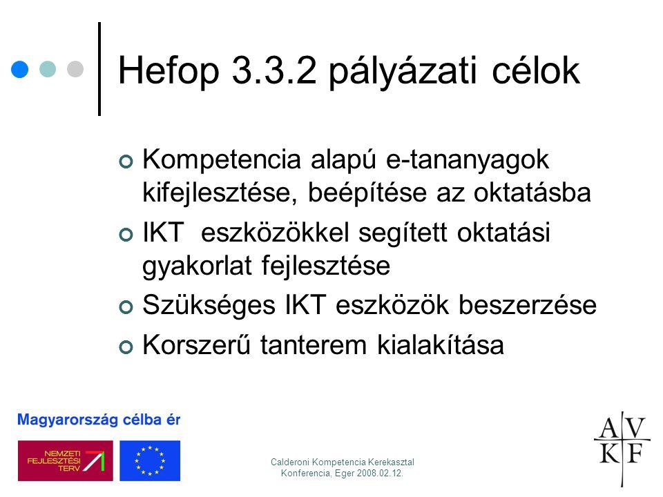 Calderoni Kompetencia Kerekasztal Konferencia, Eger 2008.02.12. Hefop 3.3.2 pályázati célok Kompetencia alapú e-tananyagok kifejlesztése, beépítése az