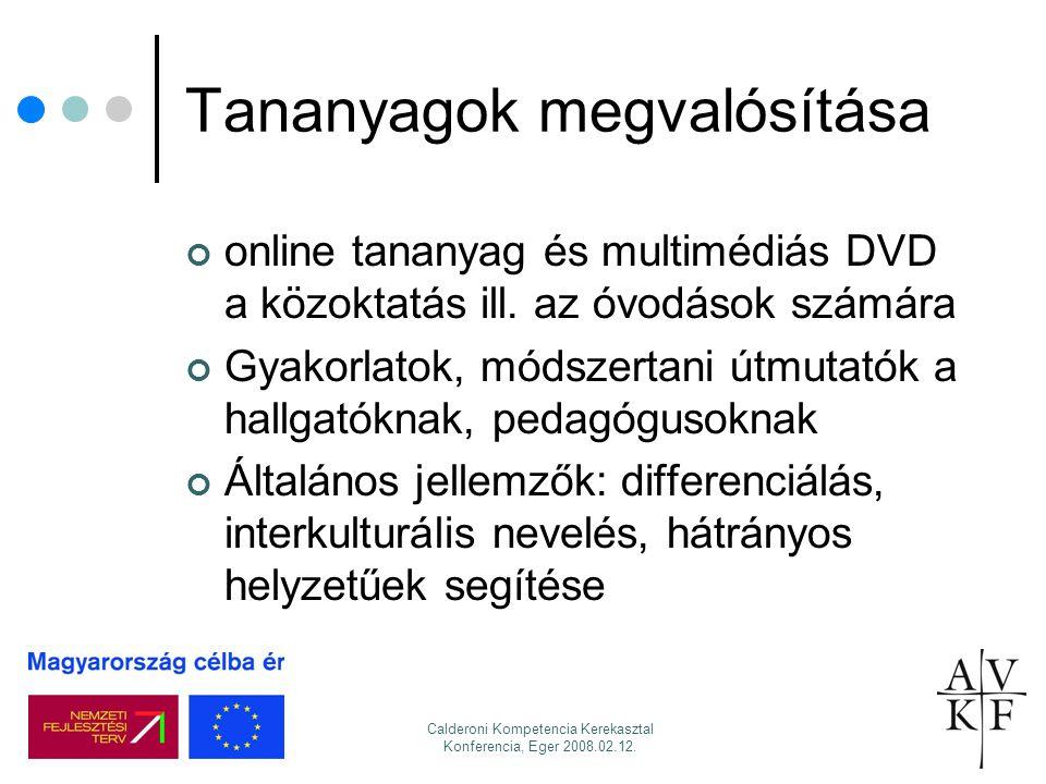 Calderoni Kompetencia Kerekasztal Konferencia, Eger 2008.02.12. Tananyagok megvalósítása online tananyag és multimédiás DVD a közoktatás ill. az óvodá