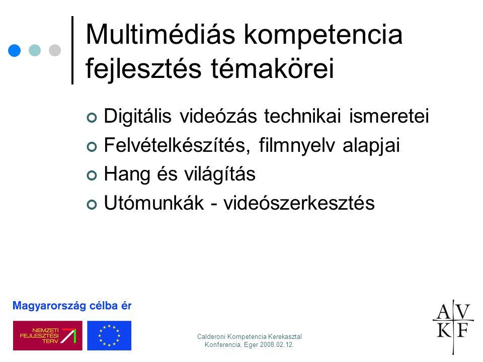 Calderoni Kompetencia Kerekasztal Konferencia, Eger 2008.02.12. Multimédiás kompetencia fejlesztés témakörei Digitális videózás technikai ismeretei Fe