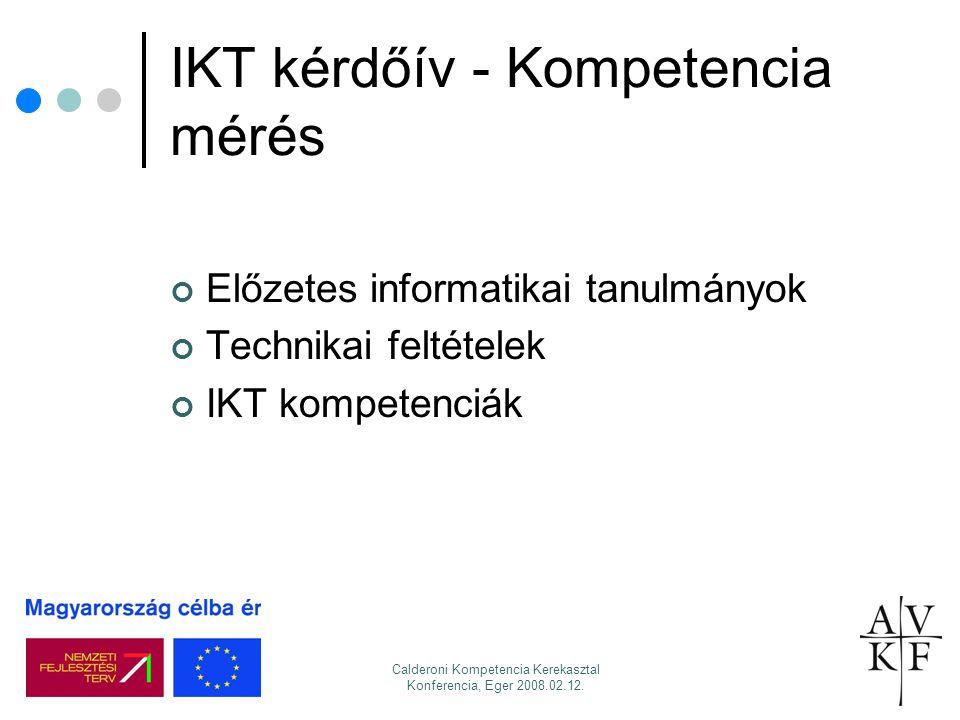 Calderoni Kompetencia Kerekasztal Konferencia, Eger 2008.02.12. IKT kérdőív - Kompetencia mérés Előzetes informatikai tanulmányok Technikai feltételek