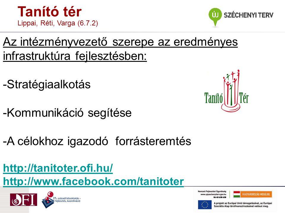 Tanító tér Lippai, Réti, Varga (6.7.2) Az intézményvezető szerepe az eredményes infrastruktúra fejlesztésben: -Stratégiaalkotás -Kommunikáció segítése