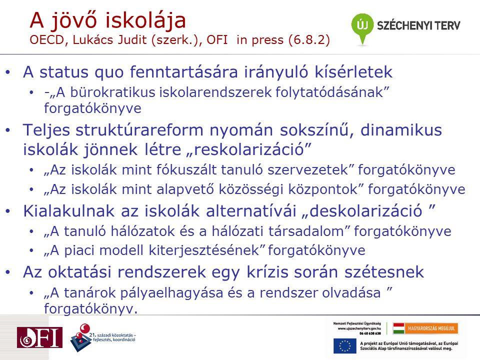 """A jövő iskolája OECD, Lukács Judit (szerk.), OFI in press (6.8.2) A status quo fenntartására irányuló kísérletek -""""A bürokratikus iskolarendszerek fol"""