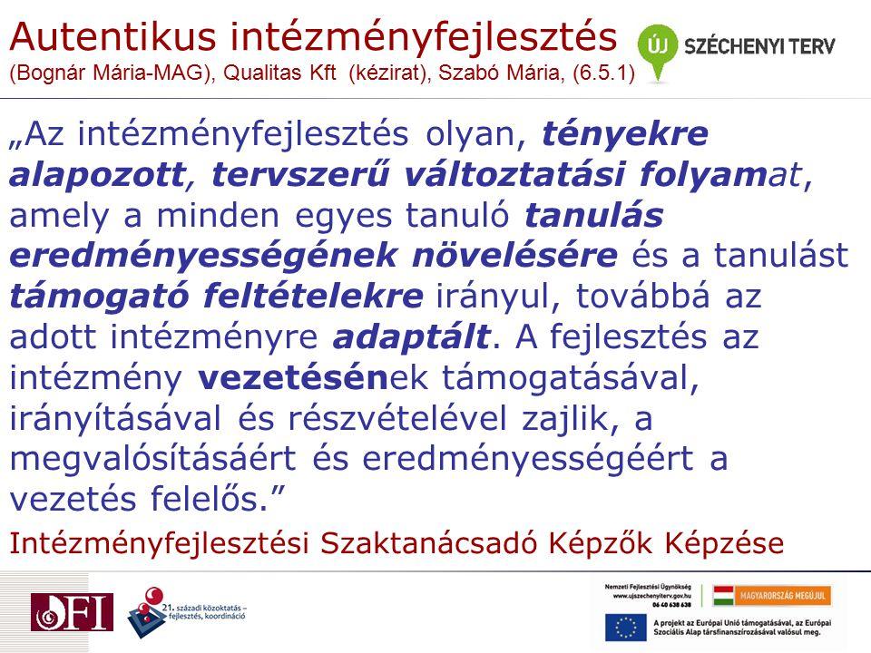 """Autentikus intézményfejlesztés (Bognár Mária-MAG), Qualitas Kft (kézirat), Szabó Mária, (6.5.1) """"Az intézményfejlesztés olyan, tényekre alapozott, ter"""