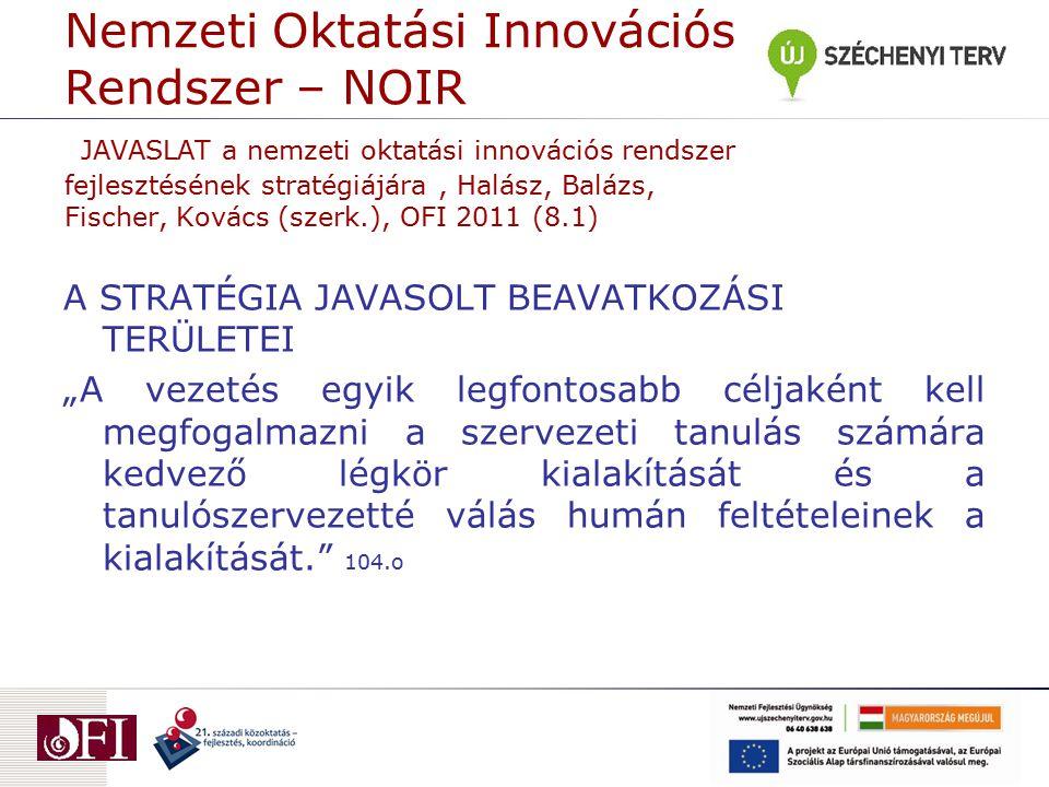 Nemzeti Oktatási Innovációs Rendszer – NOIR JAVASLAT a nemzeti oktatási innovációs rendszer fejlesztésének stratégiájára, Halász, Balázs, Fischer, Kov