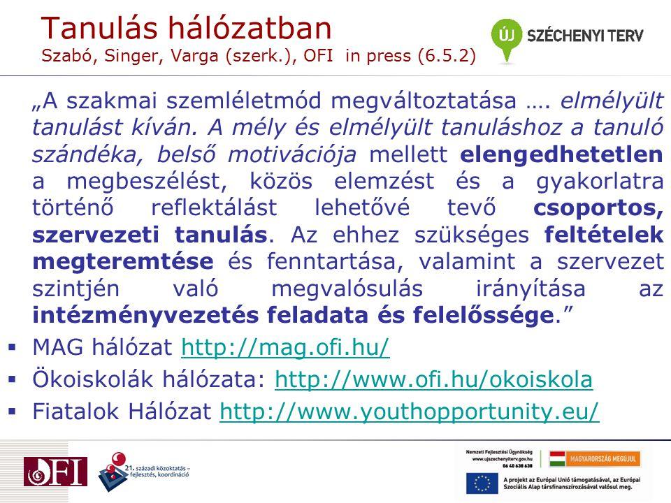 """Tanulás hálózatban Szabó, Singer, Varga (szerk.), OFI in press (6.5.2) """"A szakmai szemléletmód megváltoztatása …. elmélyült tanulást kíván. A mély és"""