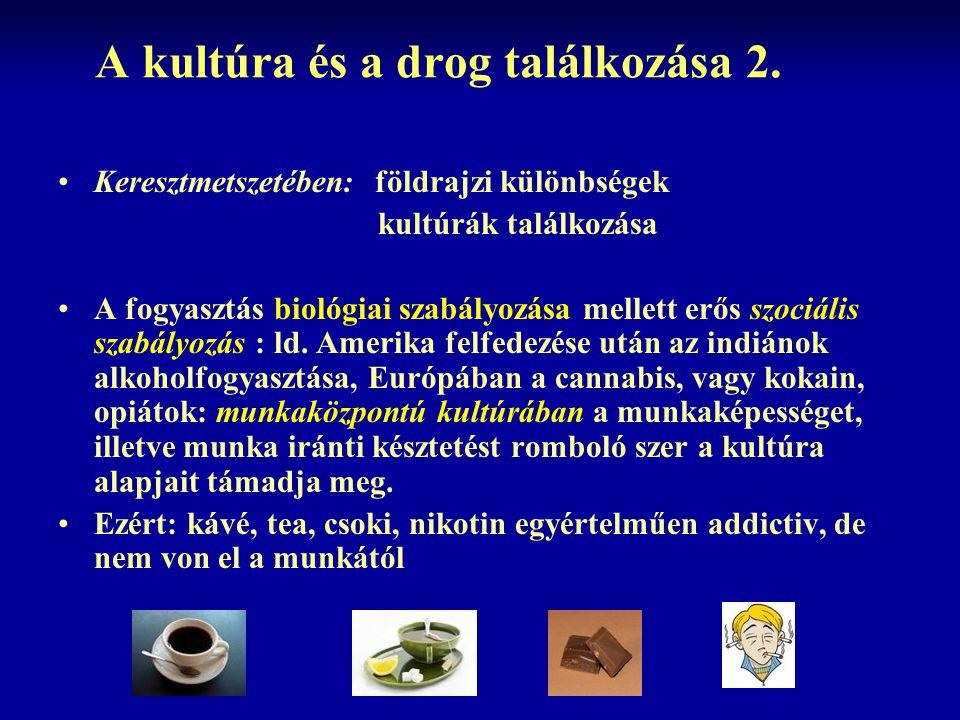 A kultúra és a drog találkozása 2. Keresztmetszetében: földrajzi különbségek kultúrák találkozása A fogyasztás biológiai szabályozása mellett erős szo