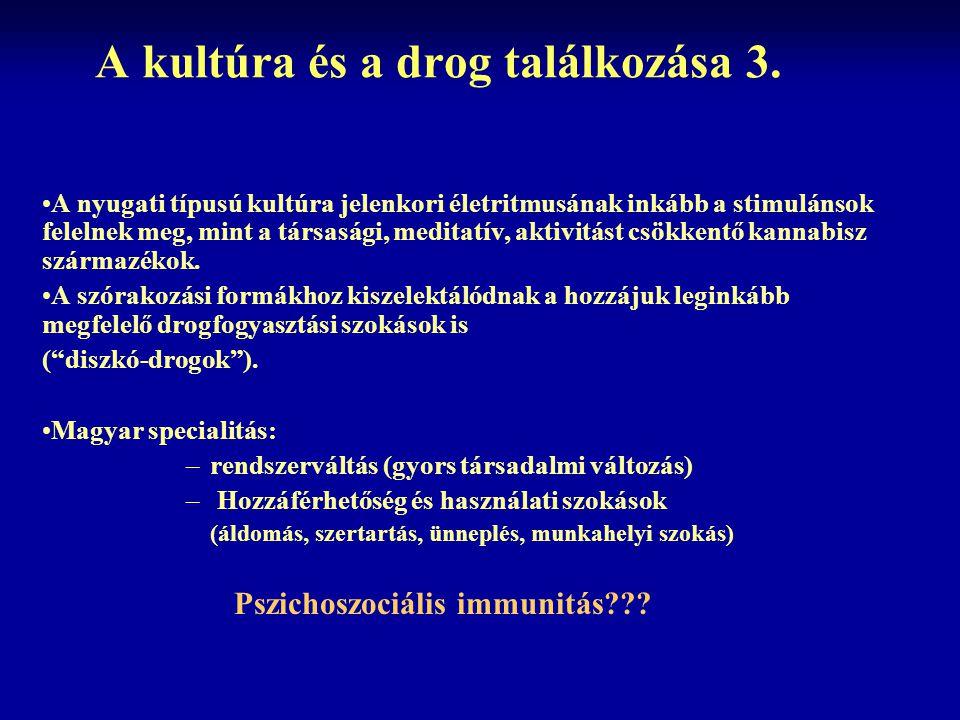 A kultúra és a drog találkozása 3. A nyugati típusú kultúra jelenkori életritmusának inkább a stimulánsok felelnek meg, mint a társasági, meditatív, a
