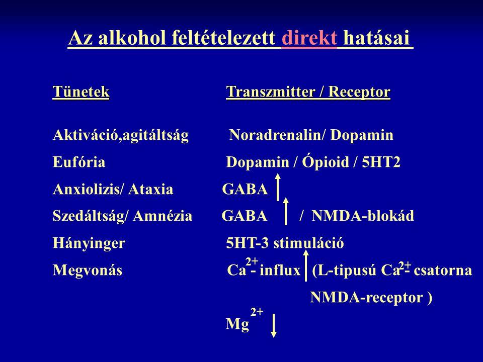 Az alkohol feltételezett direkt hatásai Tünetek Transzmitter / Receptor Aktiváció,agitáltság Noradrenalin/ Dopamin Eufória Dopamin / Ópioid / 5HT2 Anx