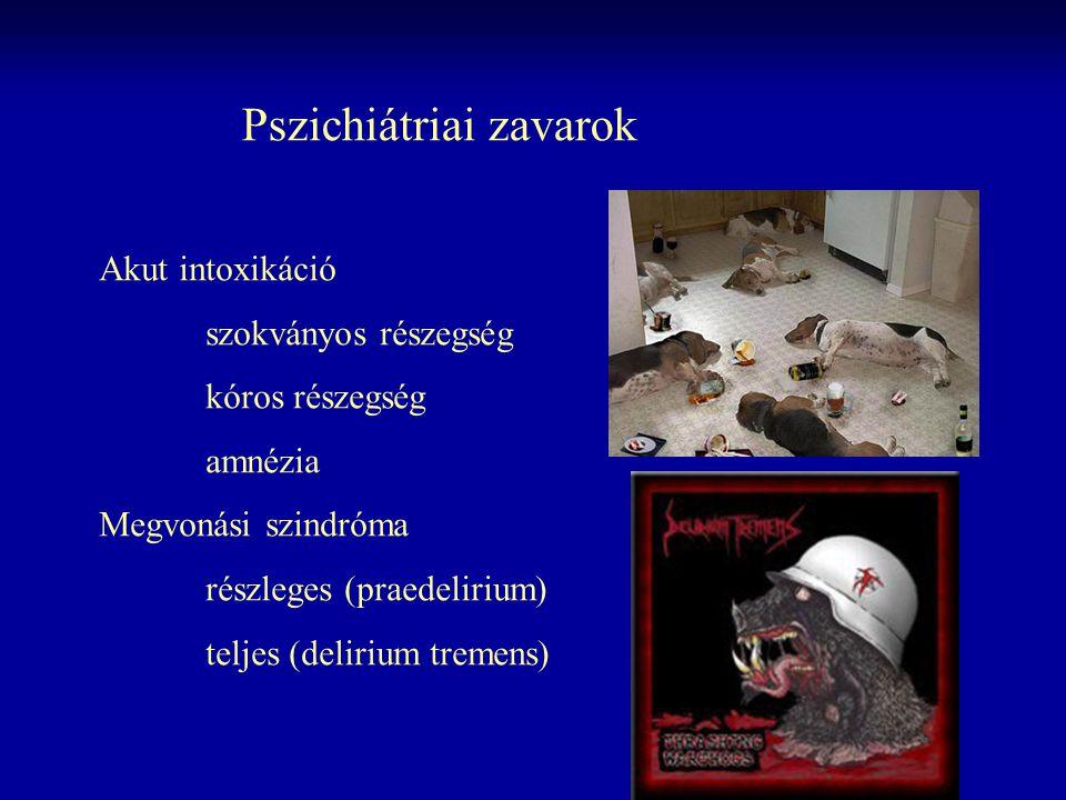 Pszichiátriai zavarok Akut intoxikáció szokványos részegség kóros részegség amnézia Megvonási szindróma részleges (praedelirium) teljes (delirium trem