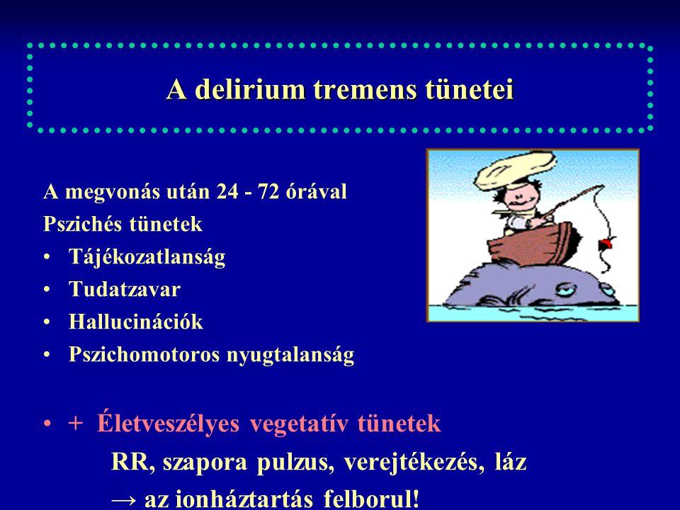 A delirium tremens tünetei A megvonás után 24 - 72 órával Pszichés tünetek Tájékozatlanság Tudatzavar Hallucinációk Pszichomotoros nyugtalanság + Élet