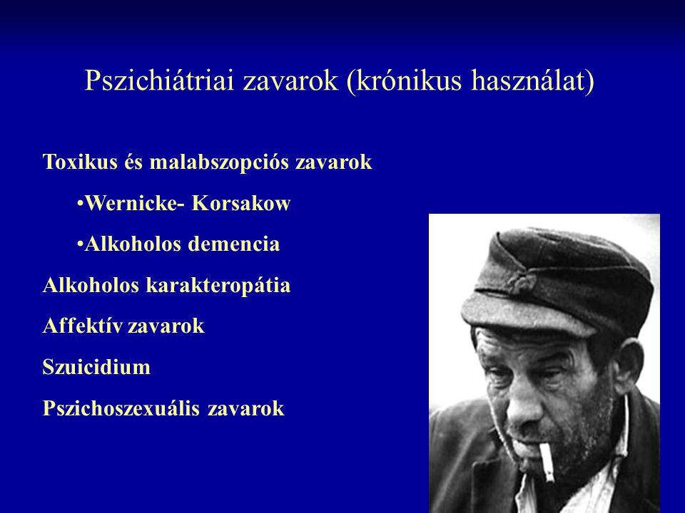 Pszichiátriai zavarok (krónikus használat) Toxikus és malabszopciós zavarok Wernicke- Korsakow Alkoholos demencia Alkoholos karakteropátia Affektív za