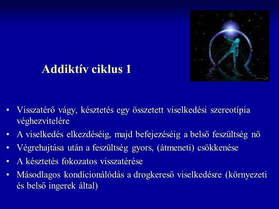 Addiktív ciklus 1 Visszatérő vágy, késztetés egy összetett viselkedési szereotípia véghezvitelére A viselkedés elkezdéséig, majd befejezéséig a belső