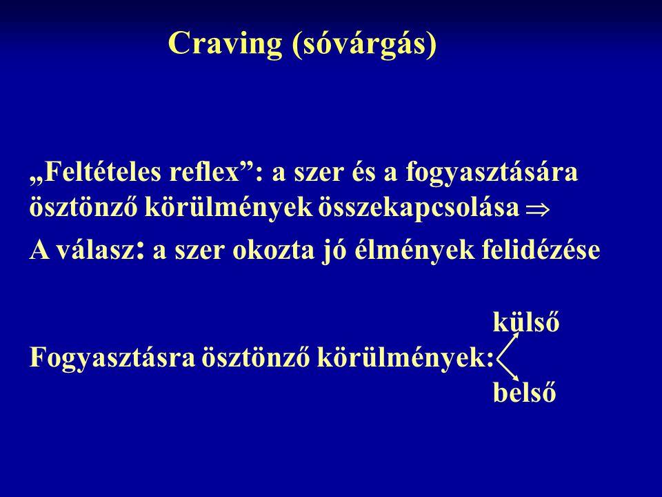 """Craving (sóvárgás) """"Feltételes reflex"""": a szer és a fogyasztására ösztönző körülmények összekapcsolása  A válasz : a szer okozta jó élmények felidézé"""
